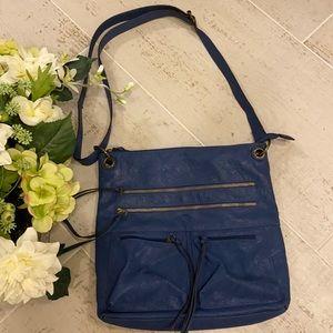 BUENO Multi Zip Blue Leather Crossbody Purse
